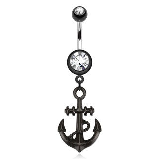 Black Nautical Anchor Belly Ring