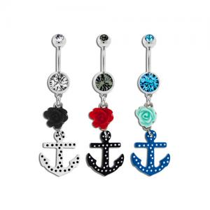 Polka Dot Anchor and Rose Belly Ring