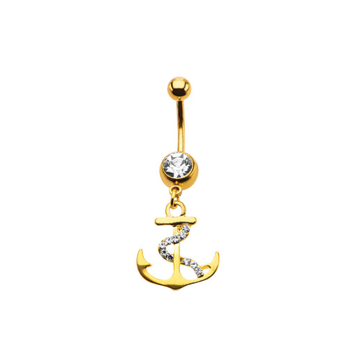 Gold Plated Anchor with CZ Rope Belly Ring