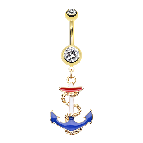 USA Anchor Belly Ring