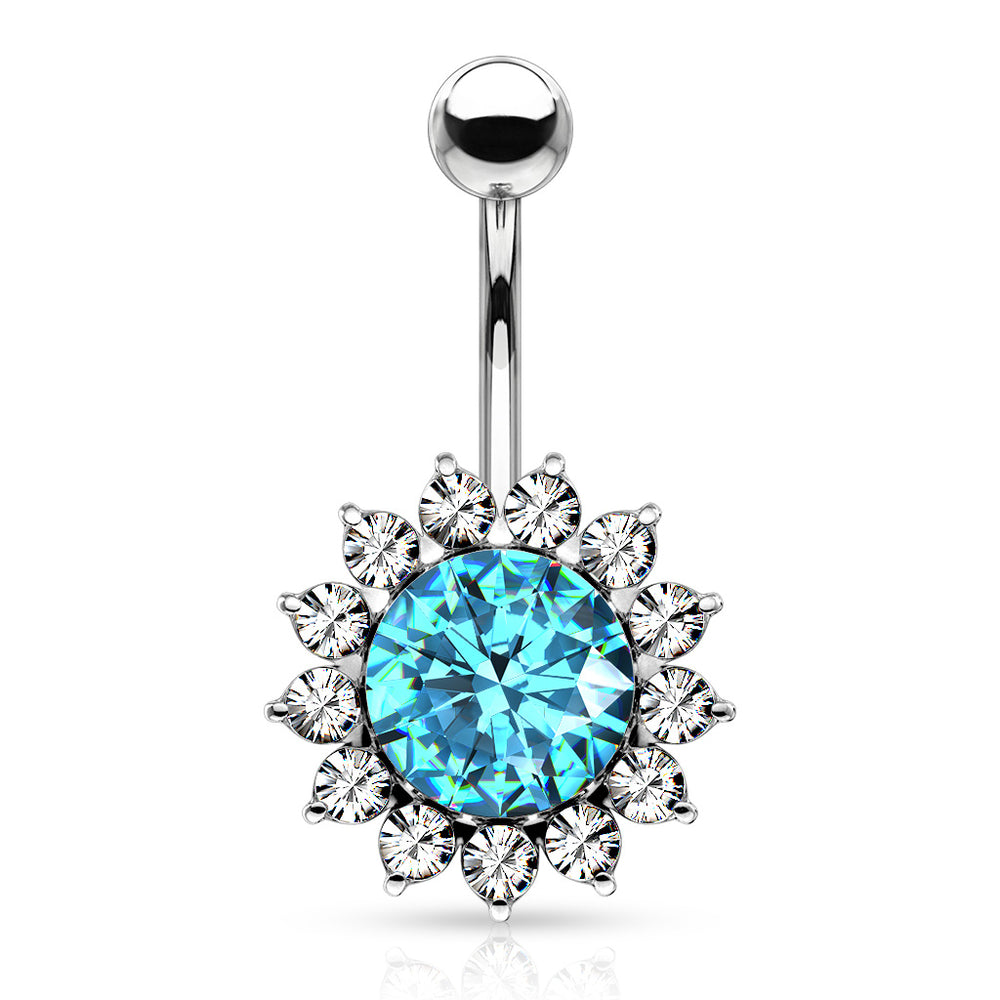 Large Aqua CZ and Around Belly Ring