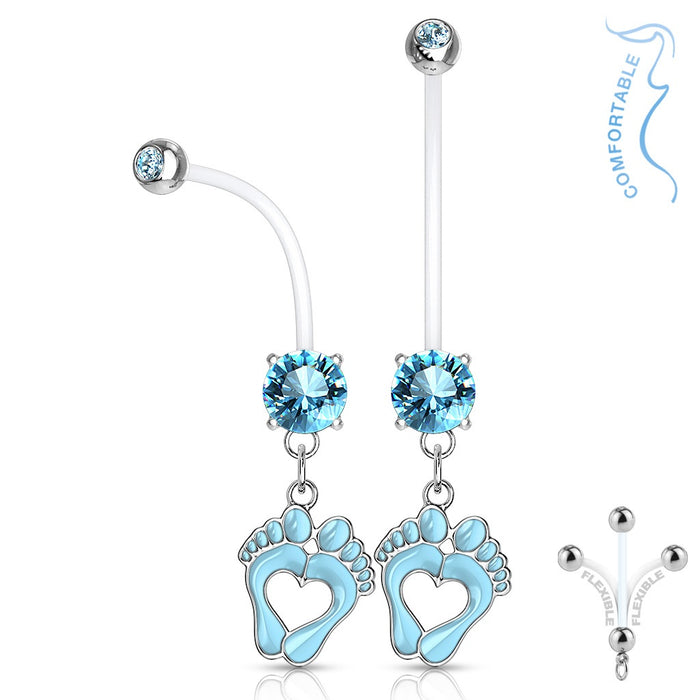Aqua Baby Feet Pregnancy Belly Ring