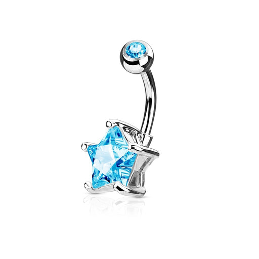 Aqua Star Solitaire Belly Ring