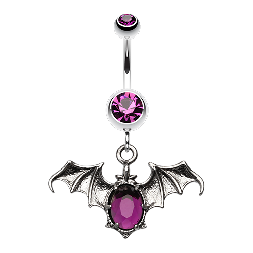 Purple Bat Belly Ring