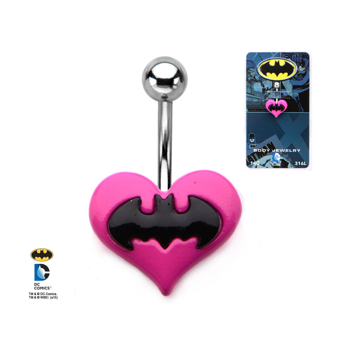 Batman Heart Belly Ring
