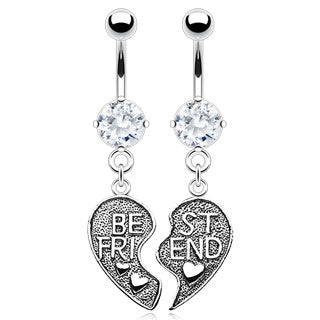 Clear Best Friends Belly Rings