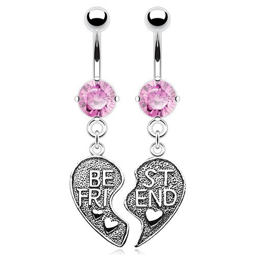 Pink Best Friends Belly Rings