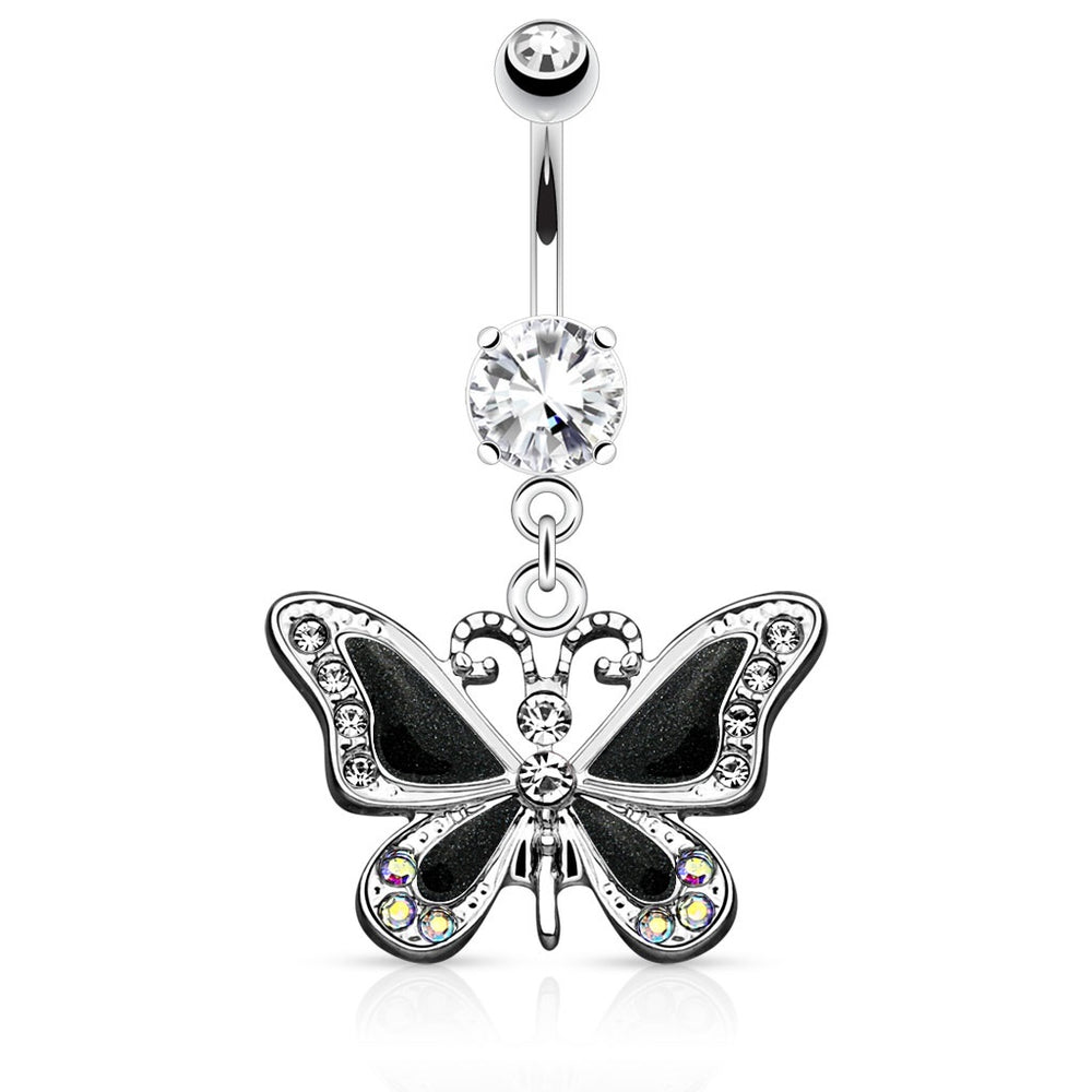 Black Butterfly Belly Ring