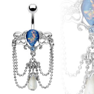 Chandelier Belly Ring with Blue Gem
