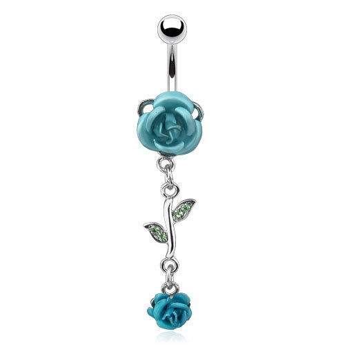 Aqua Dangling Roses Belly Ring