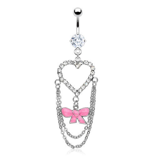 Heart and Ribbon Belly Ring