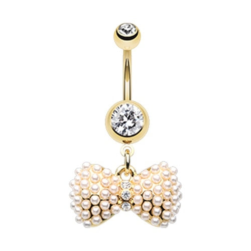 Gold Plated Pearl Bow Tie Belly Ring