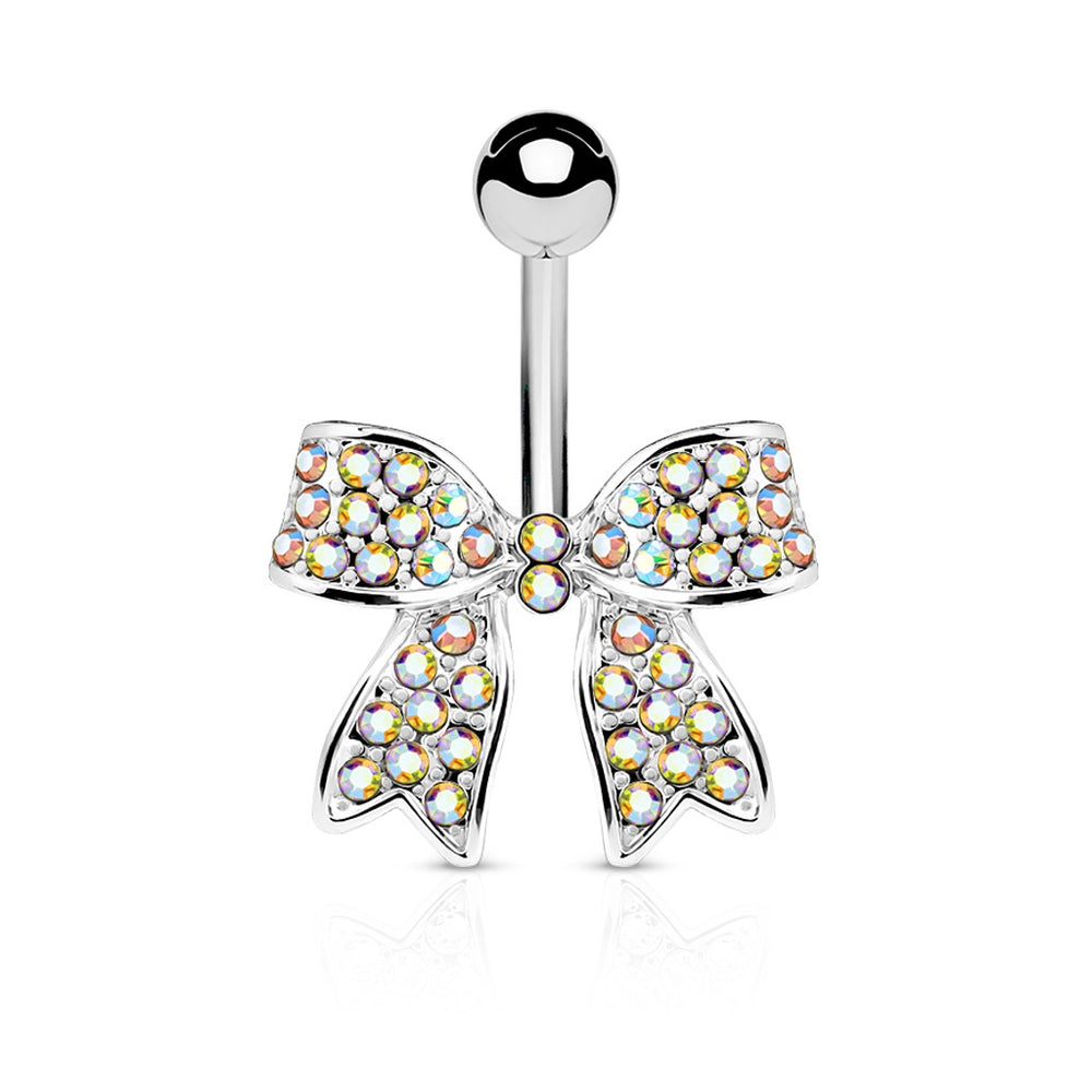 Iridescent Crystal Paved Bow Belly Ring