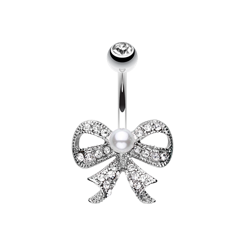 Bow Tie w/Pearl Belly Ring - Silver