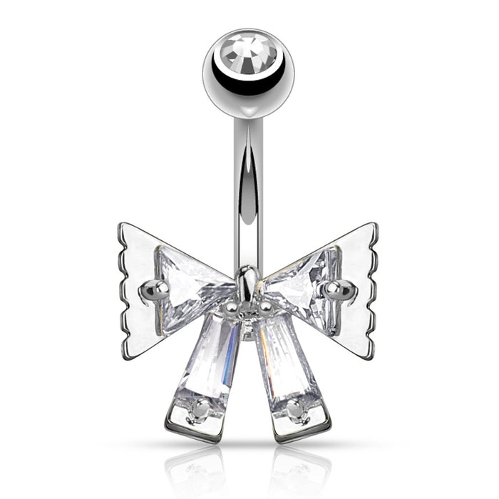 Princess Cut Bow Belly Ring