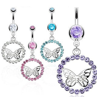 CZ Dangling Butterfly Belly Ring