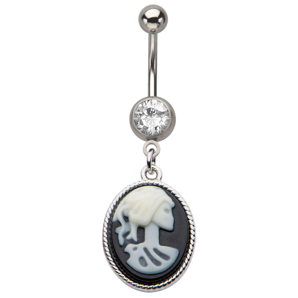 Spooky Cameo Dangling Belly Ring
