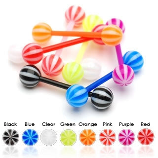 Candy Stripe Flexible Tongue Ring