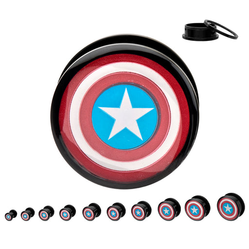 Captain America Ear Gauge - Sold as a Pair