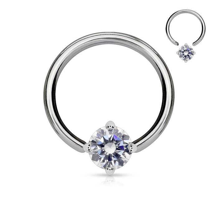 Solitaire Clear CZ Captive Bead Ring