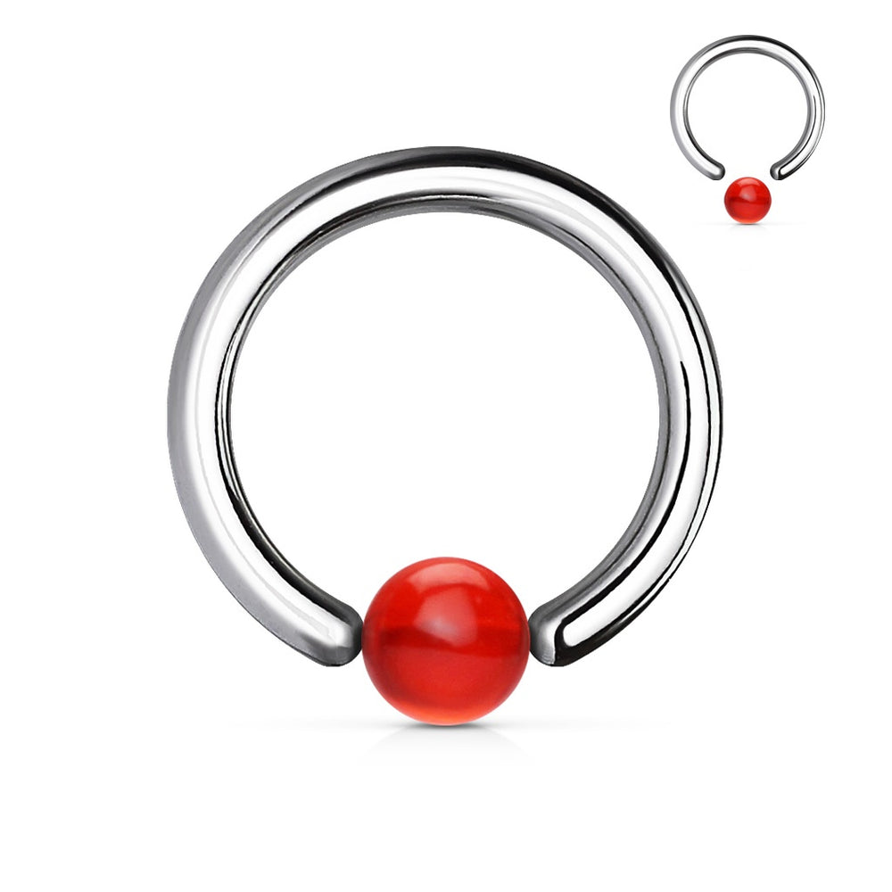 14 GA Red Acrylic Ball Captive Bead Ring