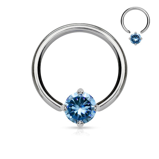 Solitaire Aqua CZ Captive Bead Ring