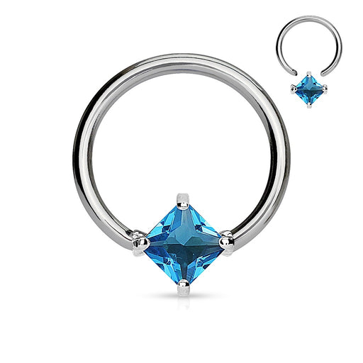 Solitaire Aqua Diamond Shape CZ Captive Ring