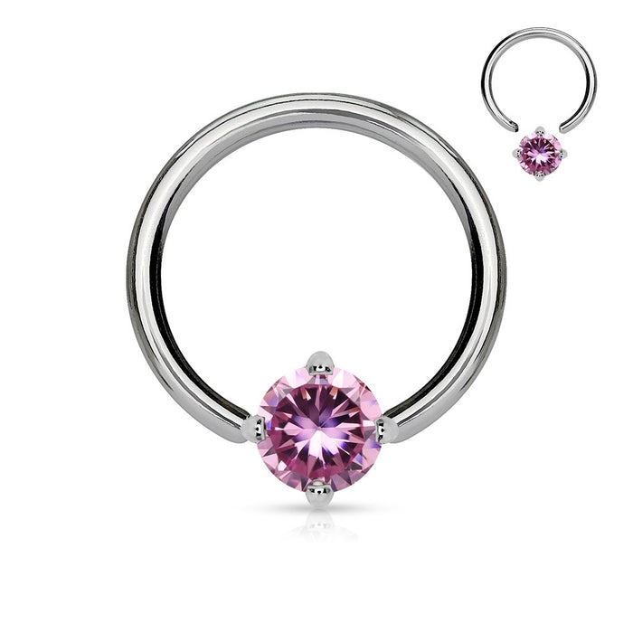 Solitaire Pink CZ Captive Bead Ring