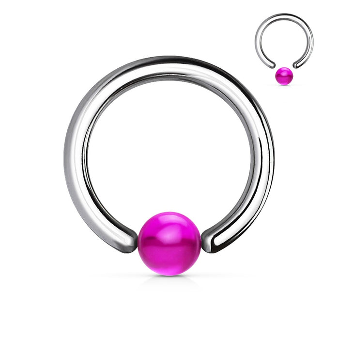 14 GA Purple Acrylic Ball Captive Bead Ring