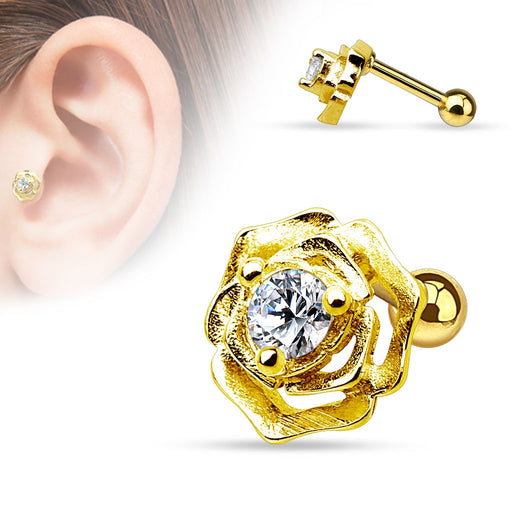 CZ Centered Flower Cartilage Ring - Gold