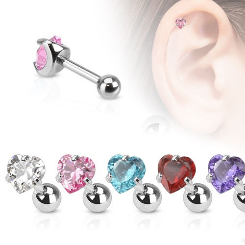 Heart CZ Pronged Cartilage Ring