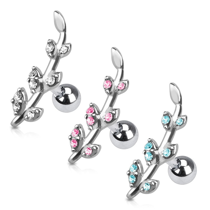 Gemmed Flower Vine Cartilage Ring
