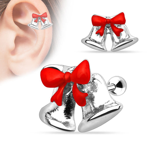 Jingle Bell Ribbon Cartilage Ring - Silver