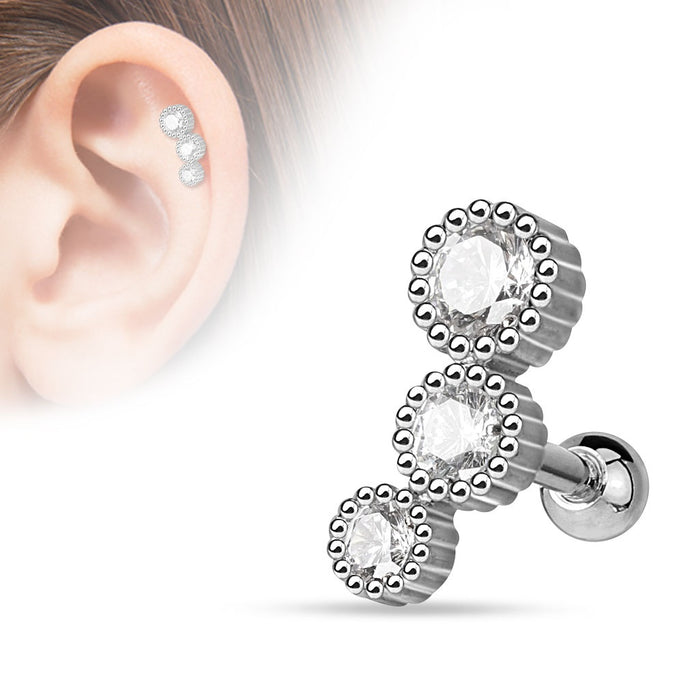 3 Round CZ Set Cartilage Ring - Silver