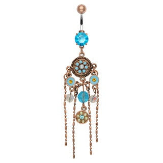 Aqua Gems Chandelier Belly Ring w/Figaro Chain