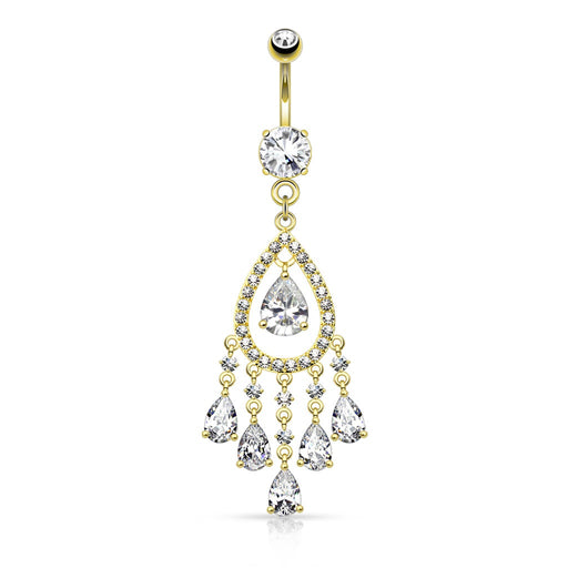 Gold Teardrop Chandelier Belly Ring