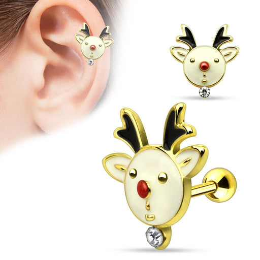 Gold Gemmed Reindeer Cartilage Barbell