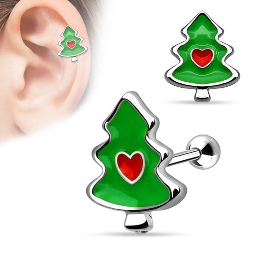 Christmas Tree with Heart Cartilage Silver