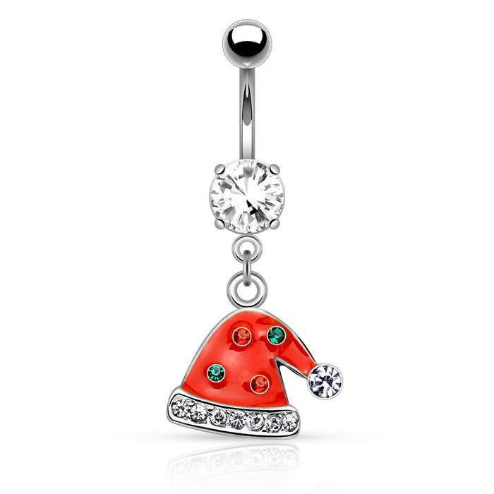 Multi Gemmed Santa Hat Belly Ring