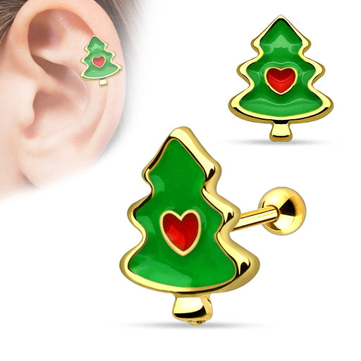 Christmas Tree with Heart Cartilage Barbell