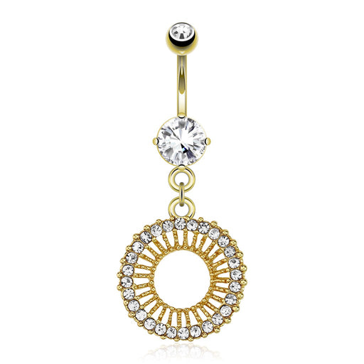 14KT Gold Plated Circle of Gems Belly Ring