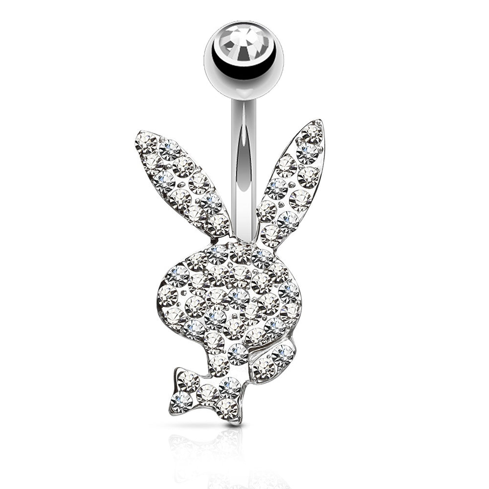 Clear Paved Playboy Belly Ring