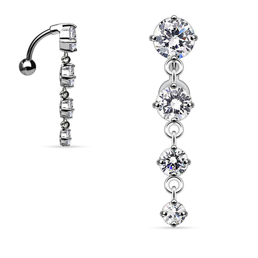 Clear Top Drop CZ Belly Ring