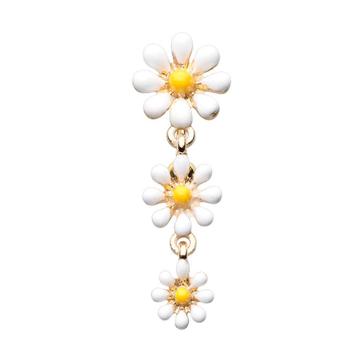 Gold Plated Dangling Daisies Belly Ring