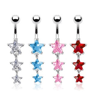 Dangling Triple Star Belly Ring