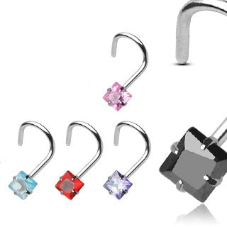 Sterling Silver Square Gem Nose Screw