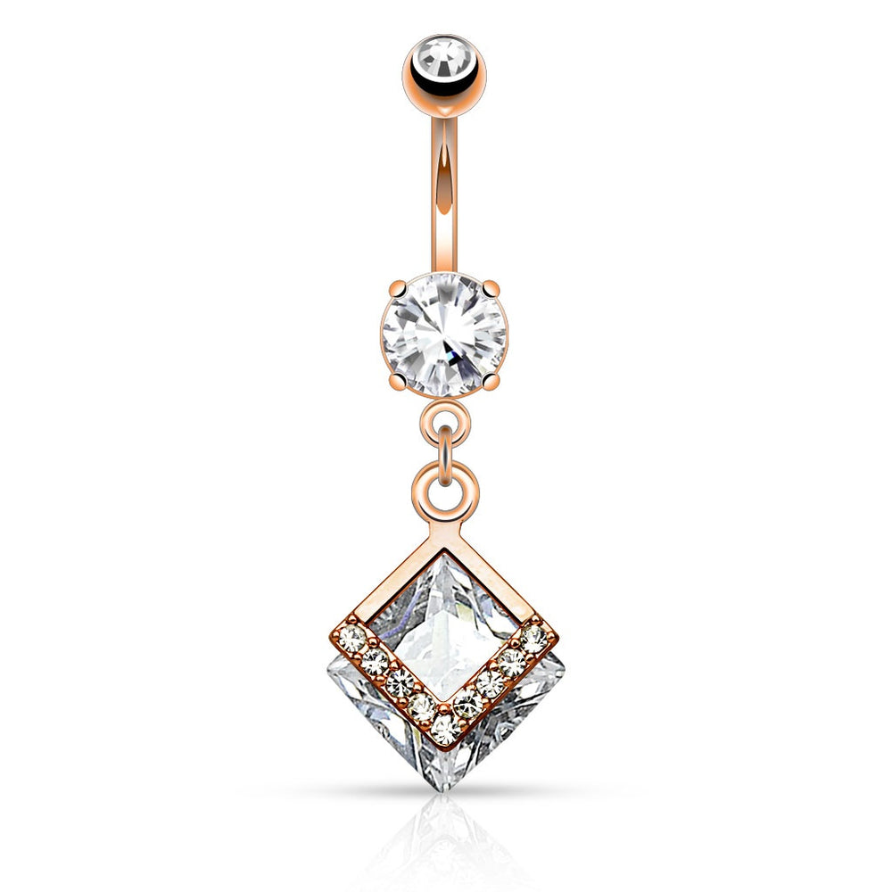 Rose Gold Diamond Shape CZ Belly Ring