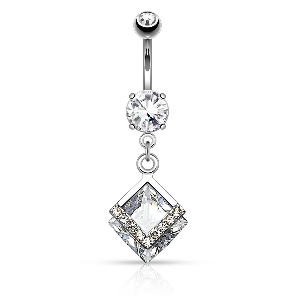 Diamond Shape CZ Belly Ring