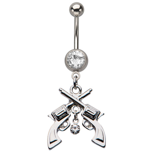 Crossed Guns Belly Ring