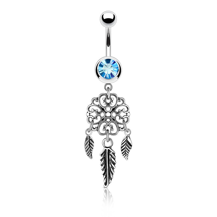 Three Feather Dreamcatcher Belly Ring - Aqua